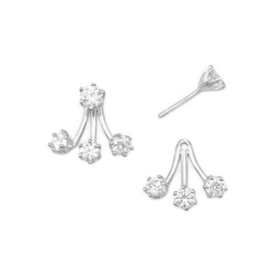 """Sterling Silver Front Back Triple CZ Earrings  . Silver """"Earring Jackets"""" CZ Earrings"""