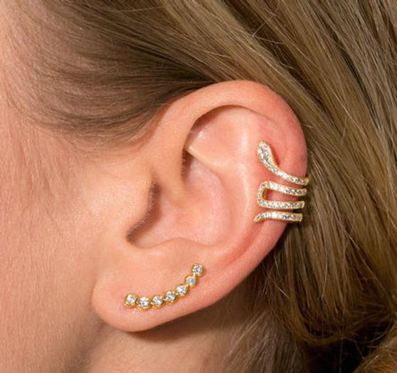 Snake CZ Gold Ear Cuff