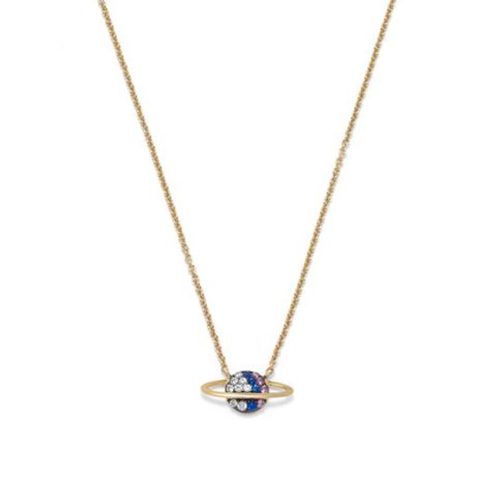 Saturn Gold Planet Necklace with CZ