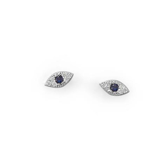 Blue Evil Eye CZ Stud Earrings  in Sterling Silver