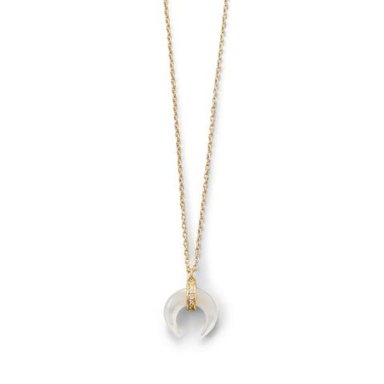 Mother of Pearl Crescent Gold Vermeil Necklace