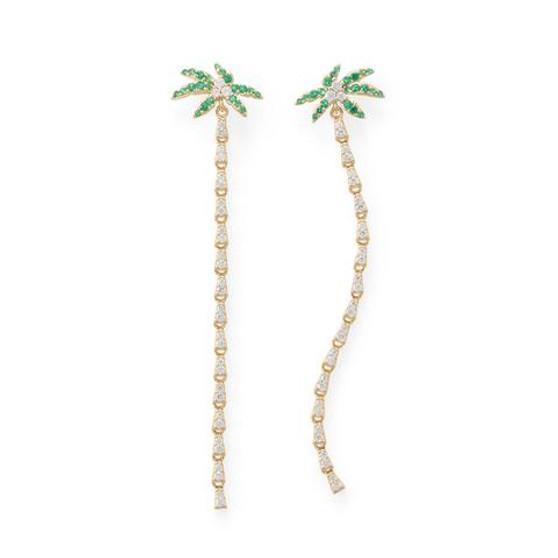 Palm Tree CZ Earrings