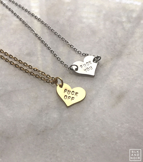 Fuck Off or You Heart Necklace