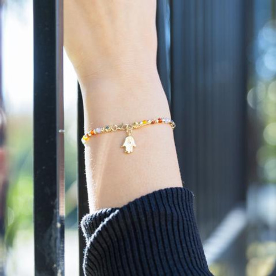 14 Karat Gold Vermeil Rainbow Multi-Gem Double Strand Bracelet with Hamsa Charm.
