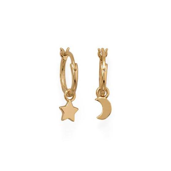 14 Karat Gold Vermeil Moon and Star Charm Hoop Earrings