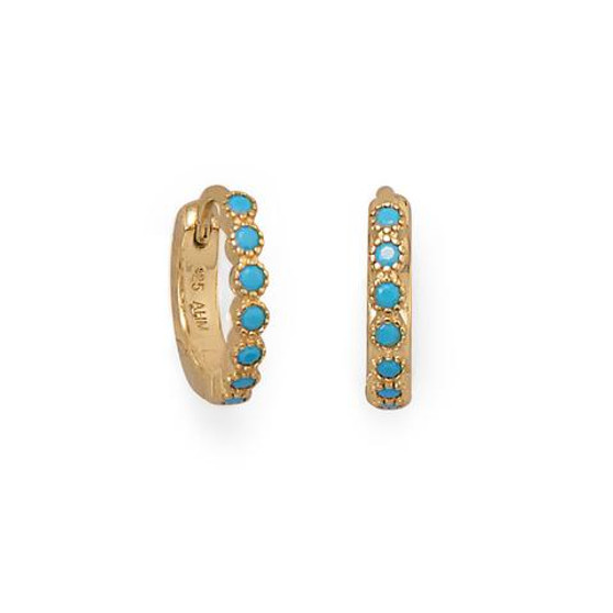 14 Karat Gold Plated Turquoise CZ Hoop Earrings