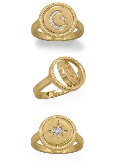 Star and Moon Reversible Gold Ring