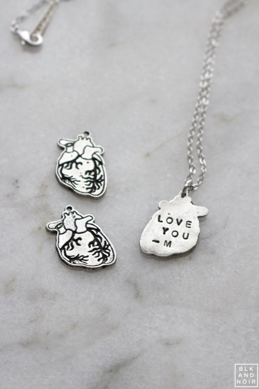 Silver Human Heart Necklace