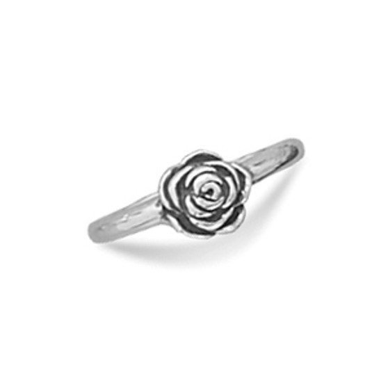 Small Sterling Silver Rose Ring