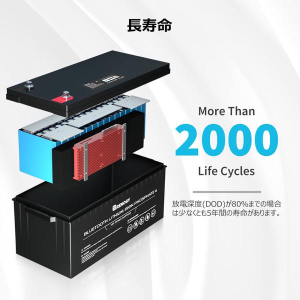 リン酸鉄リチウムイオンバッテリー 200AH 12V BLUETOOTHモジュール内蔵