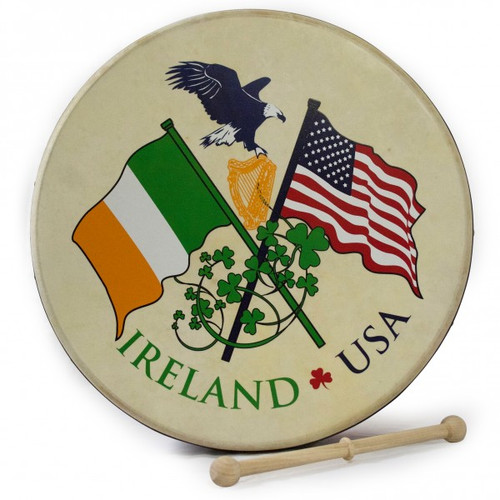 "15"" Waltons Irish USA Flag Rim Design Bodhran"