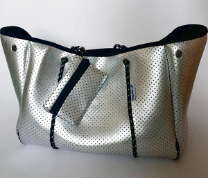 The everywhere you go Silver Neoprene Tote; sexy, sharp and clean.
