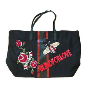 Black Tote  Blind For Love  Zippered  pouch included