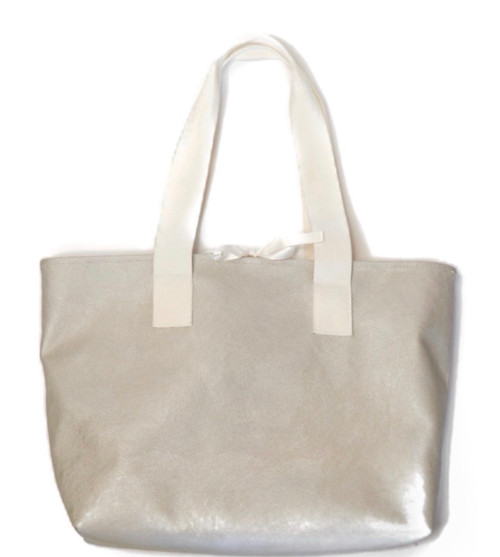 Stacy Tote Gray w/ White Straps