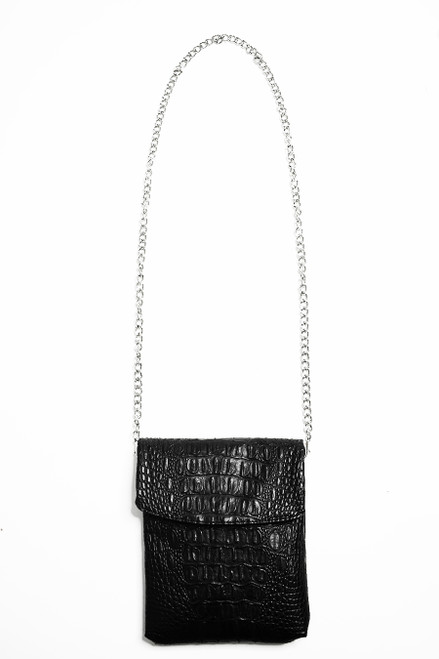 Disco Black Croc Crossbody Mini