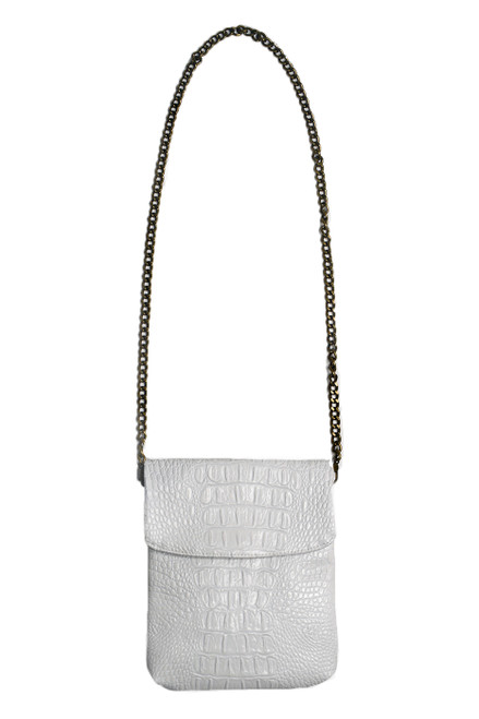 Disco White Croc Crossbody Mini