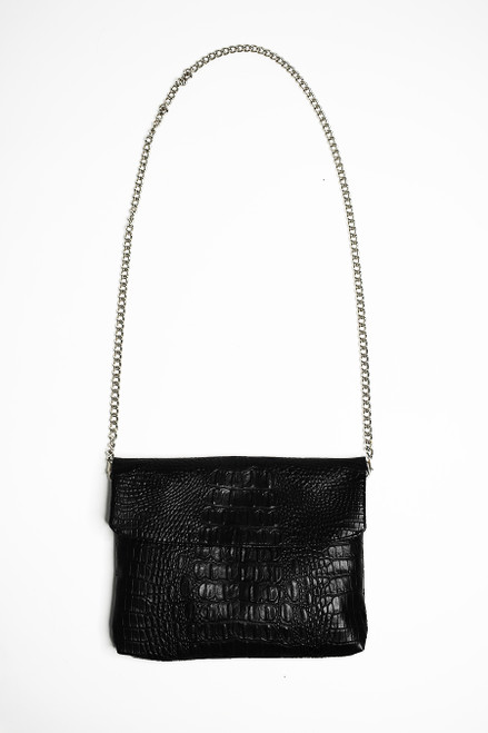 Disco Bag Crossbody Black Croc Maxi