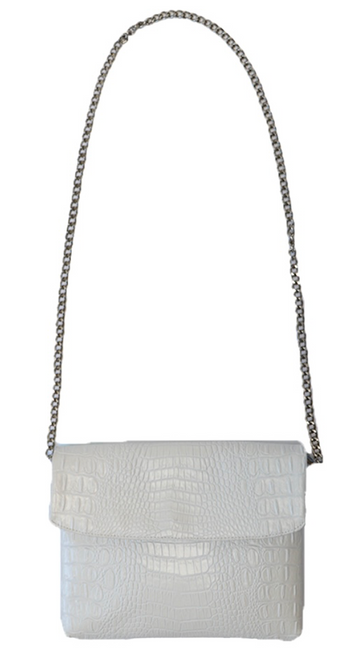 Disco Bag Crossbody White Croc Maxi