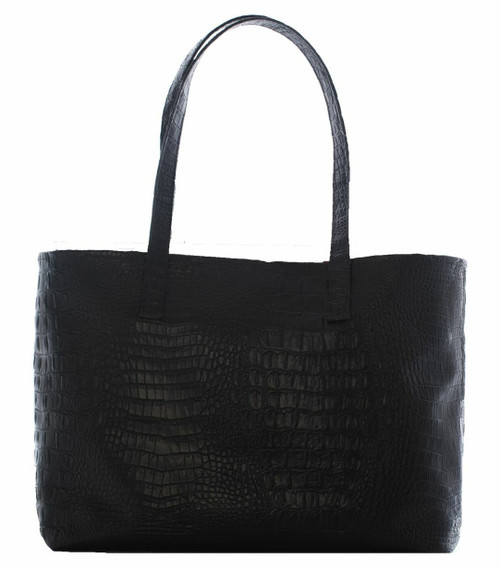 Black Croc Day Tote