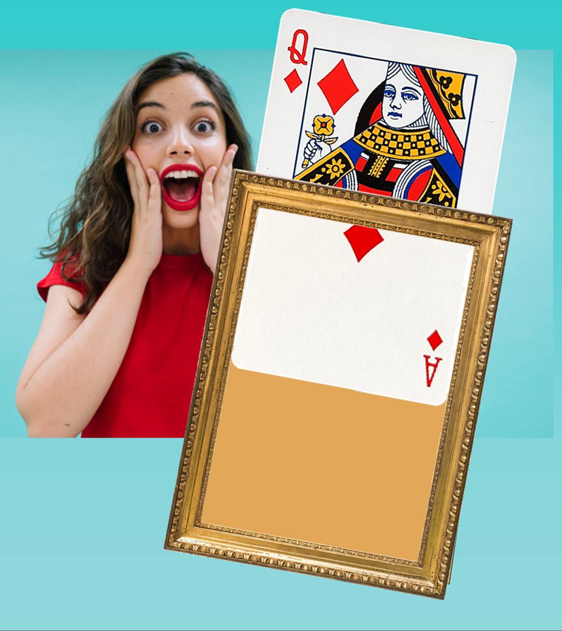 Visible Jumbo Card Change Magic Trick Queen Diamonds DiFatta