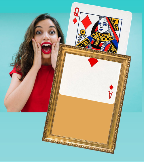 Visible Jumbo Card Change Magic Trick Queen Diamonds DiFatta