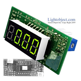 Miniature 3-1/2 Digital Green LED DC 20V Meter