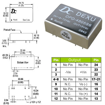 DPD4805 DC-DC 5V Isolated Power Module (6W). Input DC18V~75V