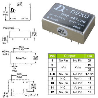 DPD4812 DC-DC 12V Isolated Power Module (6W). Input DC18V~75V