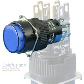 Blue SPDT Push Button (momentary) Switch w/ light