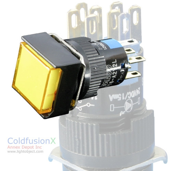 Square Orange SPDT Push Button (Toggle) Switch w/ light