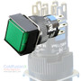 Square Green SPDT Push Button (Momentary) w/ light
