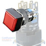 Square Red SPDT Push Button (momentary) Switch w/ light