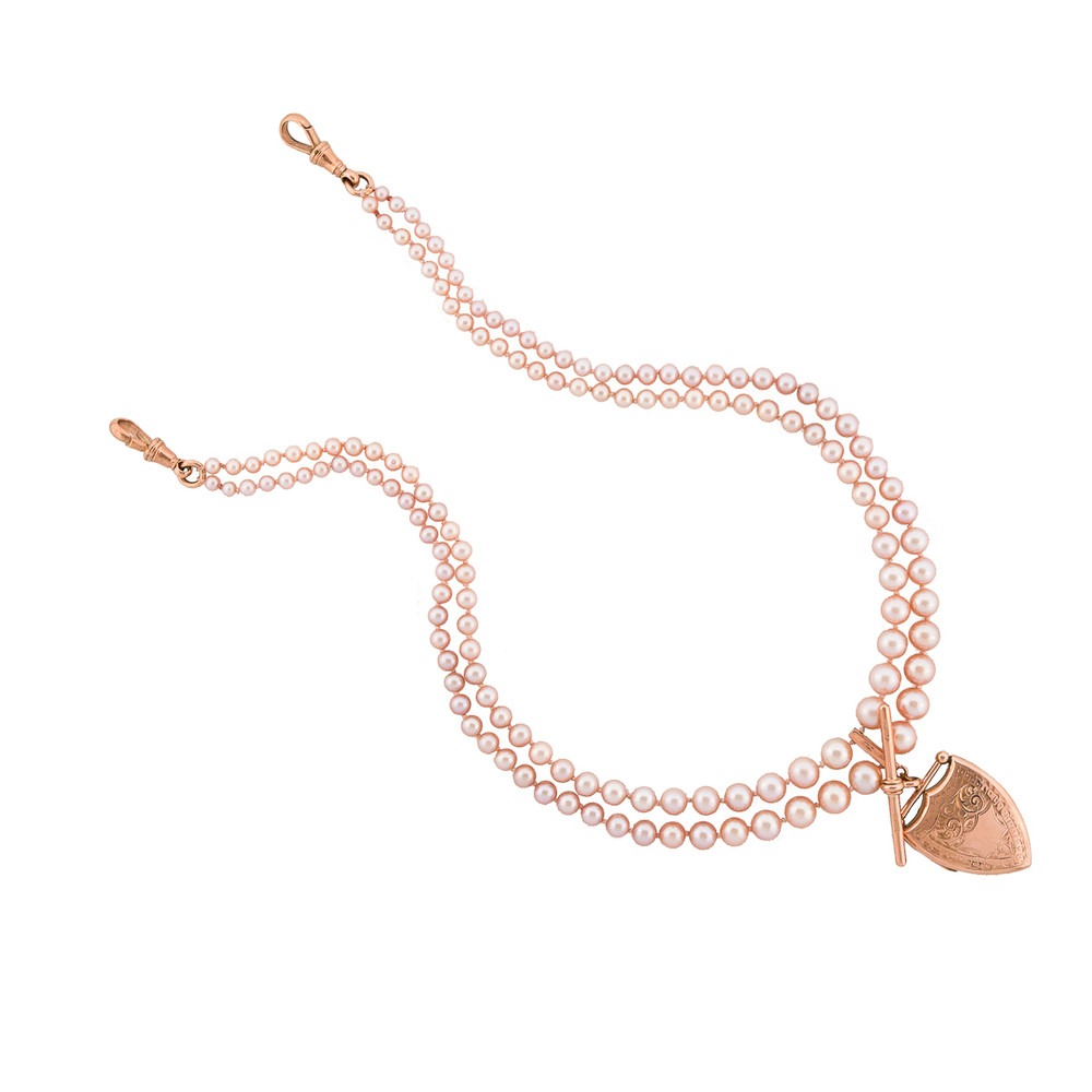 Pink Pearls and Antique Gold Locket Neckalce