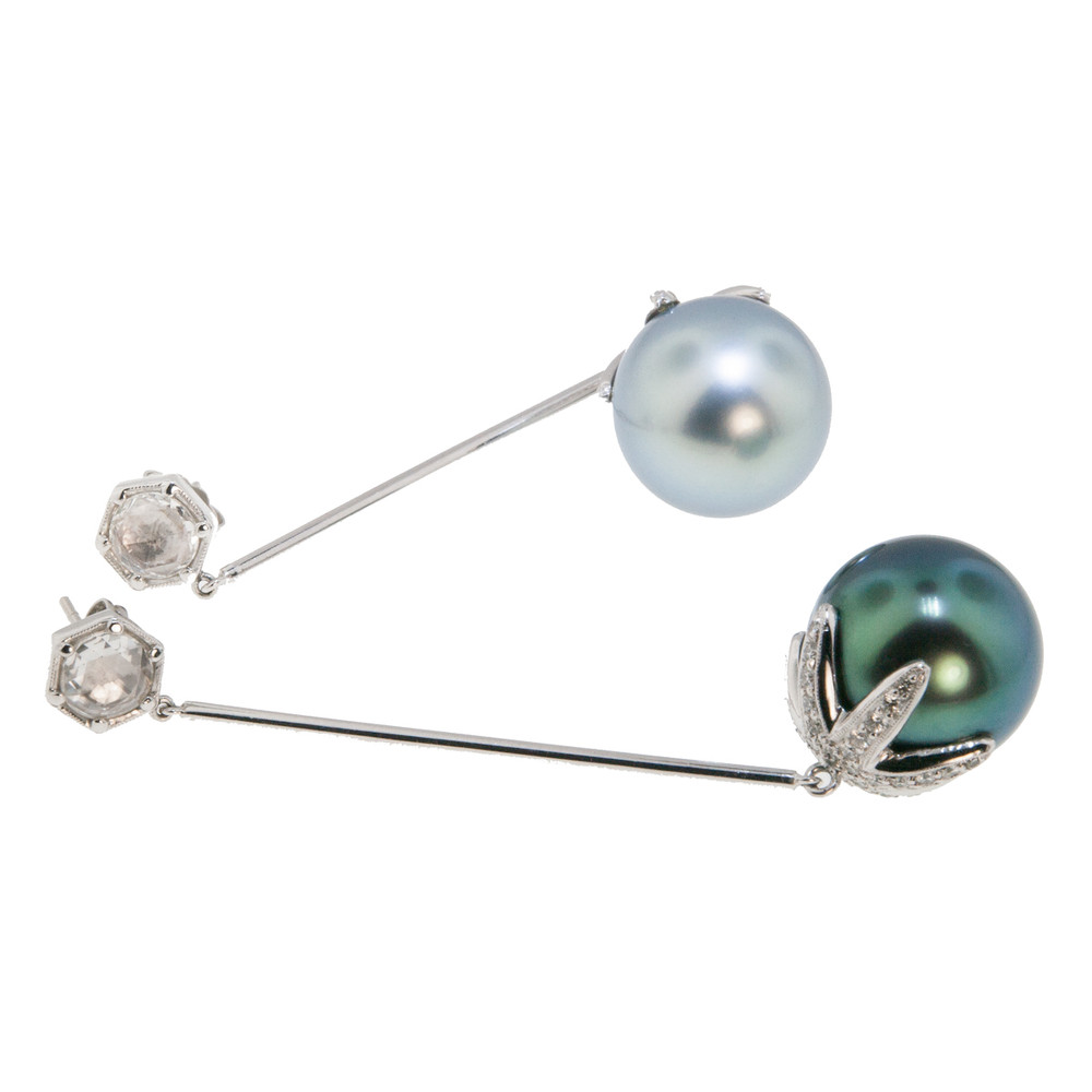 Lustrous Tahitian Pearl Earrings with Diamonds in 18 Kt. White Gold