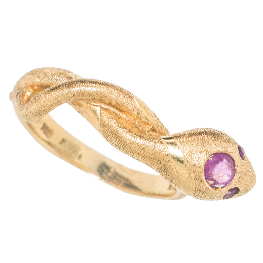 Italian Made, Vintage Snake Ring in 18 kt Gold with Ruby Eyes