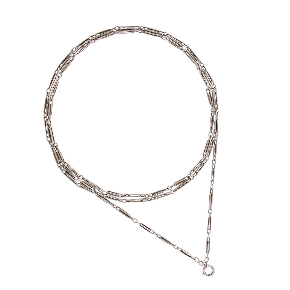 An Antique Long Silver Guard Chain, Tripled.