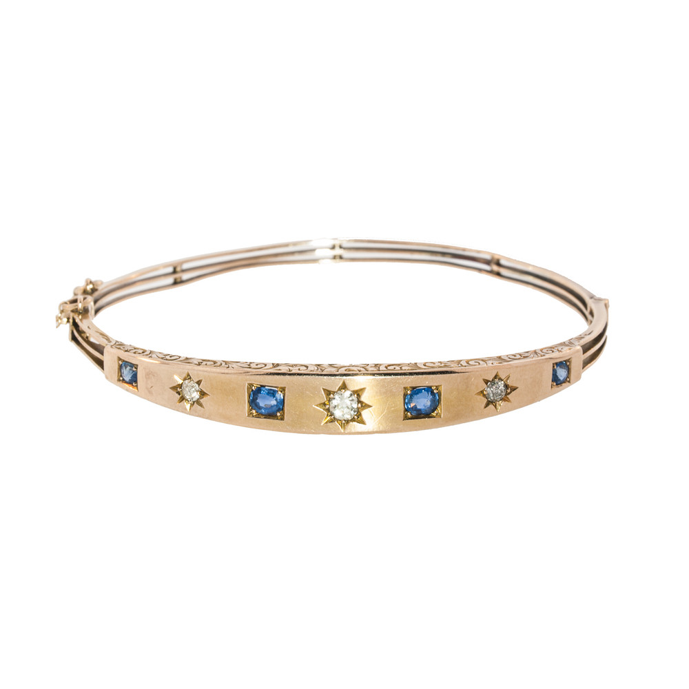A Victorian Gold Bangle with Sapphires and Diamonds