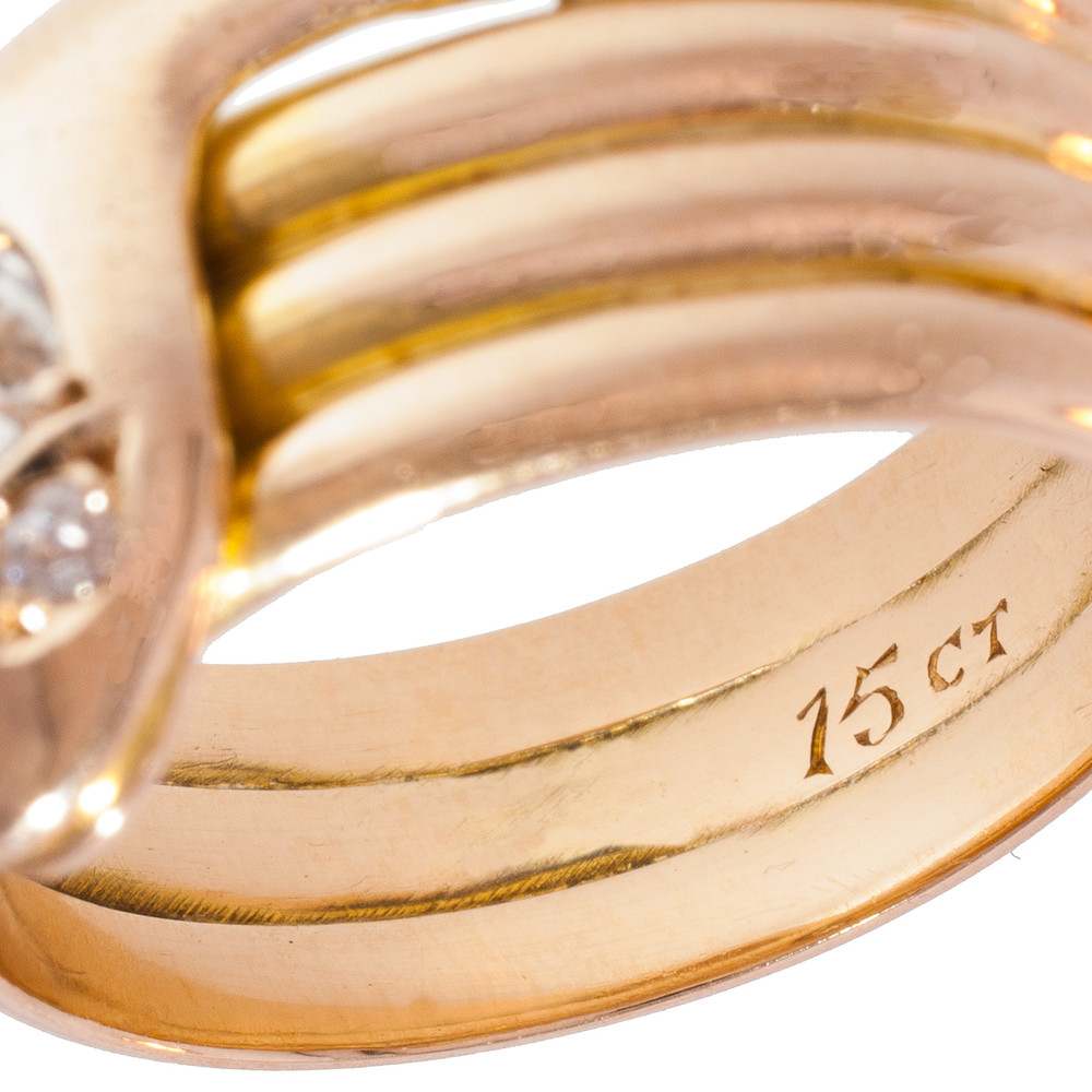 An Antique Gold and Old European Cut Diamond Snake Ring