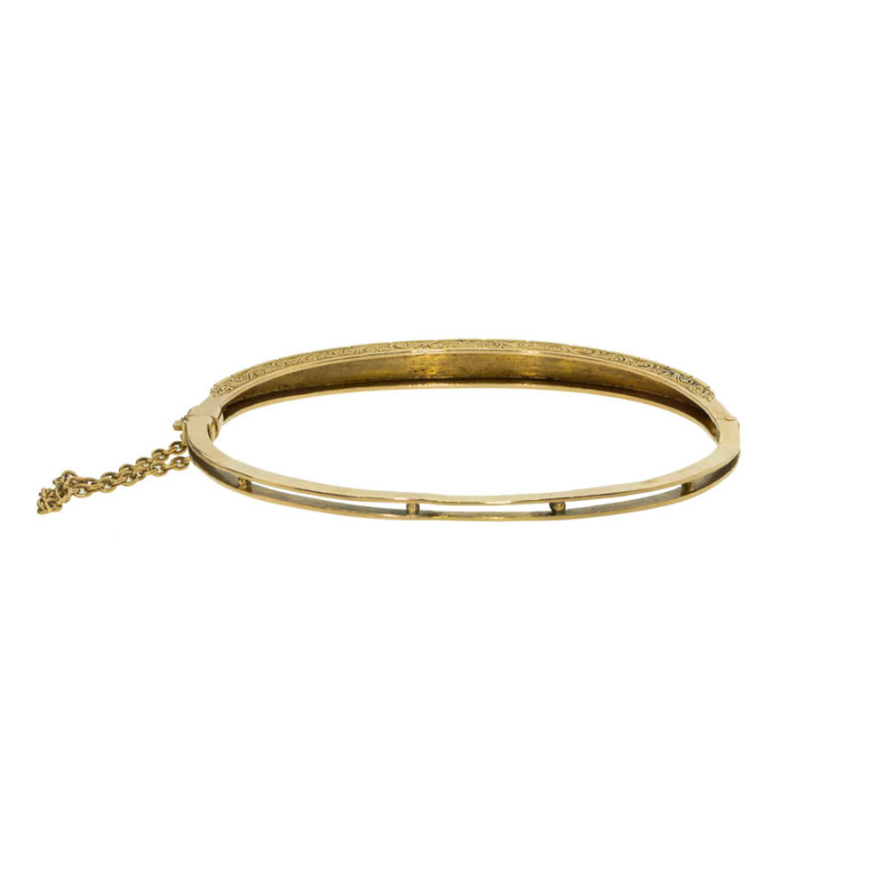 "Antique: Victorian Gold & Pearl ""Half Hoop"" Bangle Bracelet"