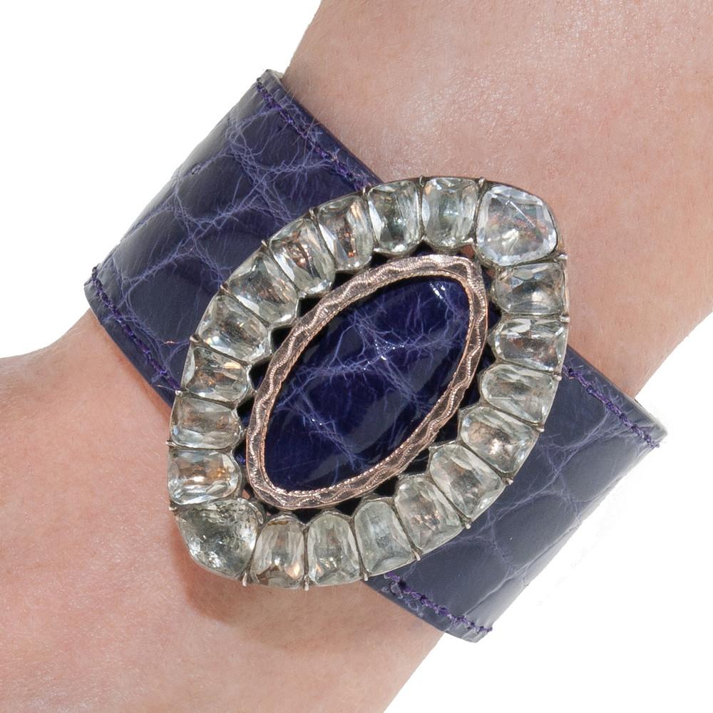 Antique Paste Buckle on Purple Alligator Bracelet