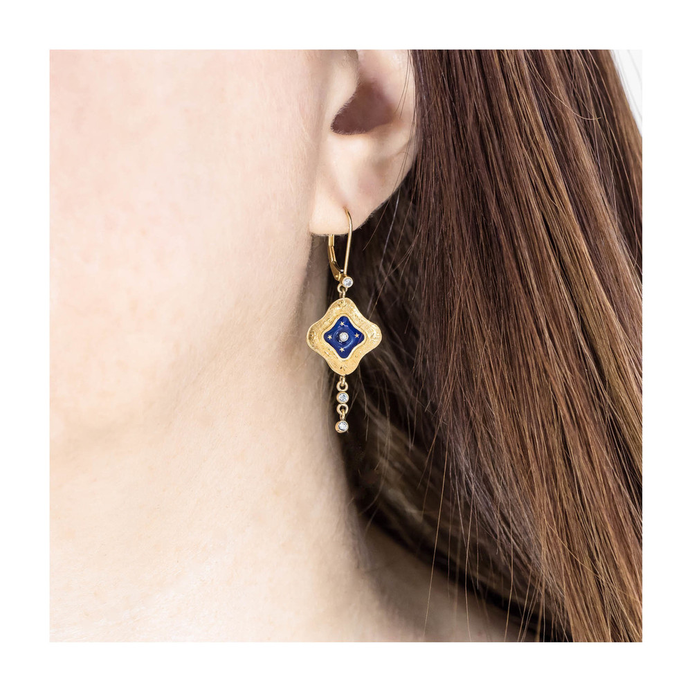 Vintage Blue Enamel and Gold Star Dangle Earrings
