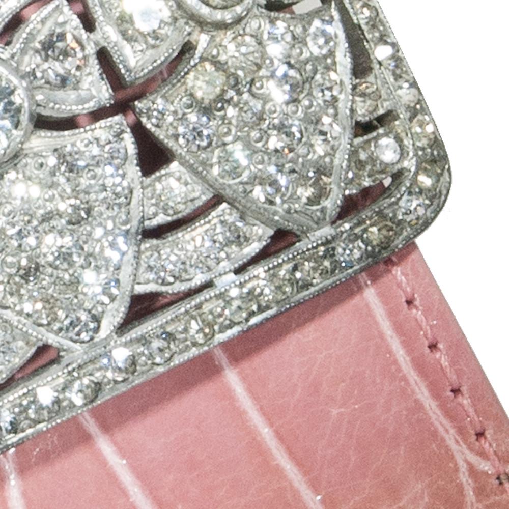 Close Up of Antique Shoe Clip on Blush Alligator Cuff