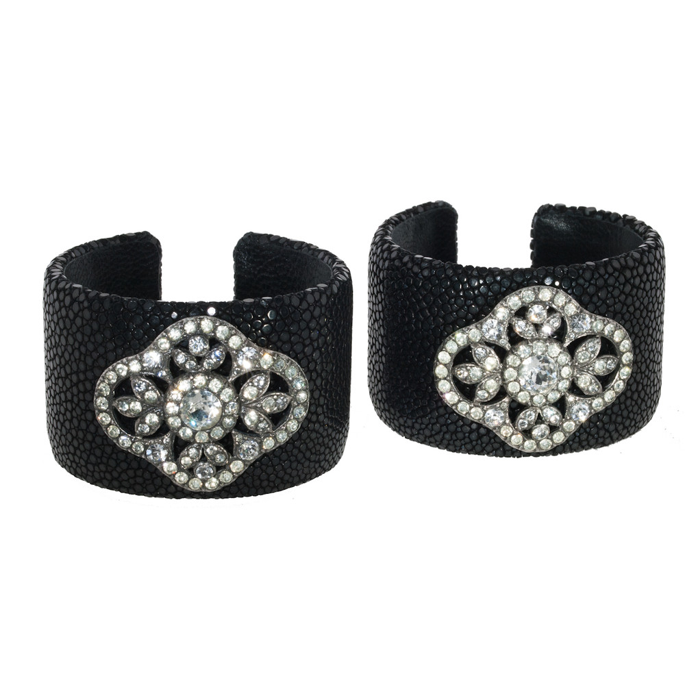A Pair of Black Stingray Cuff Bracelets with Antique Paste Slides
