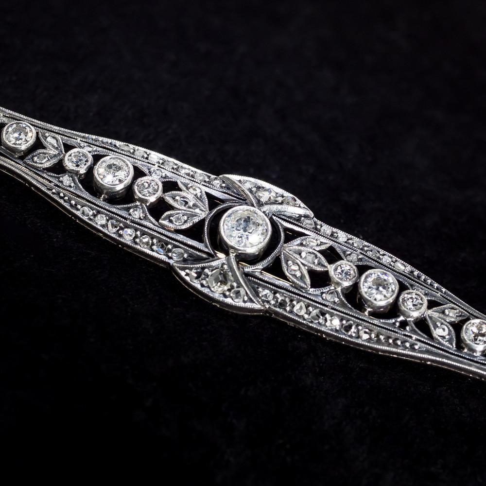 Diamond Brooch with European Cut Diamonds
