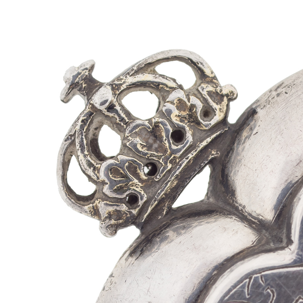 Antique Silver Crown Topped Heart Pendant