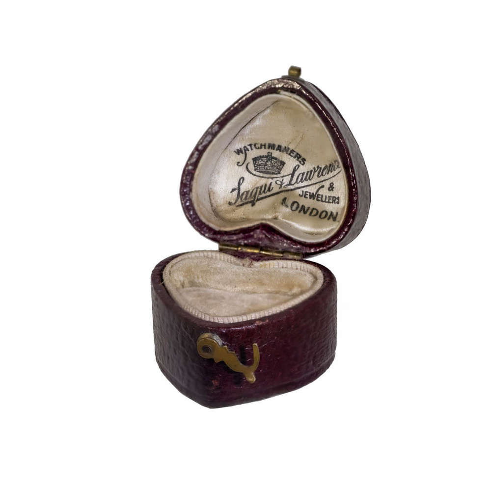 Antique Leather Ring Box, Heart-Shaped