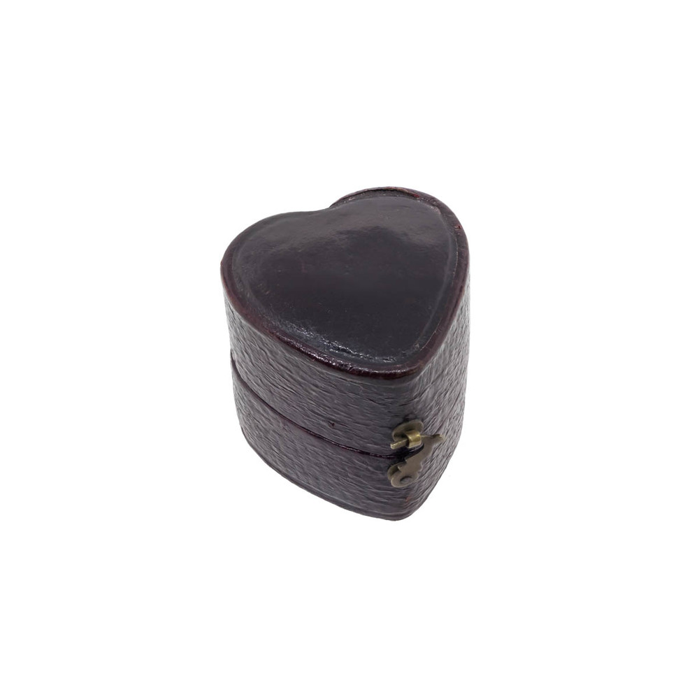 Antique: Heart Shaped Victorian Leather, Silk, & Velvet Ring Box, London