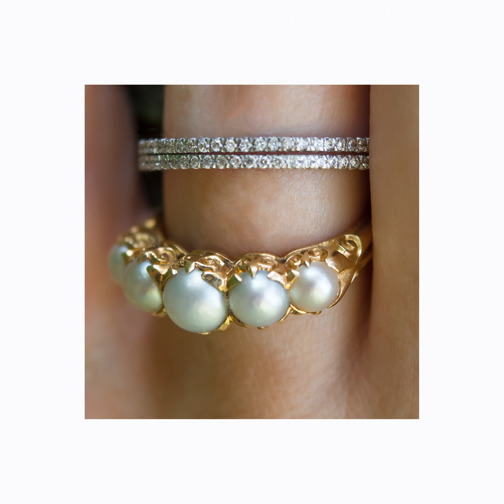 Pearl Stacking Ring with Micropave Diamond Stacking Ring