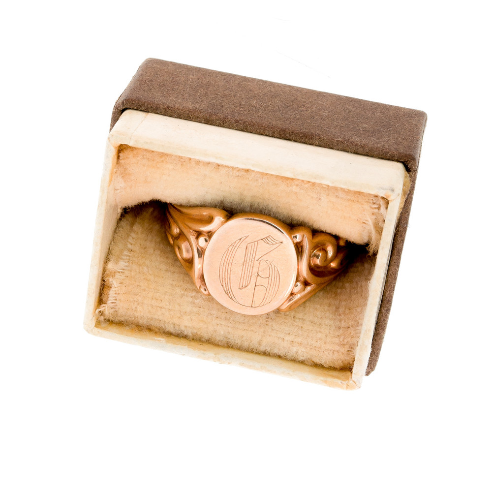 Gold Initial Ring Engraved with the Letter B