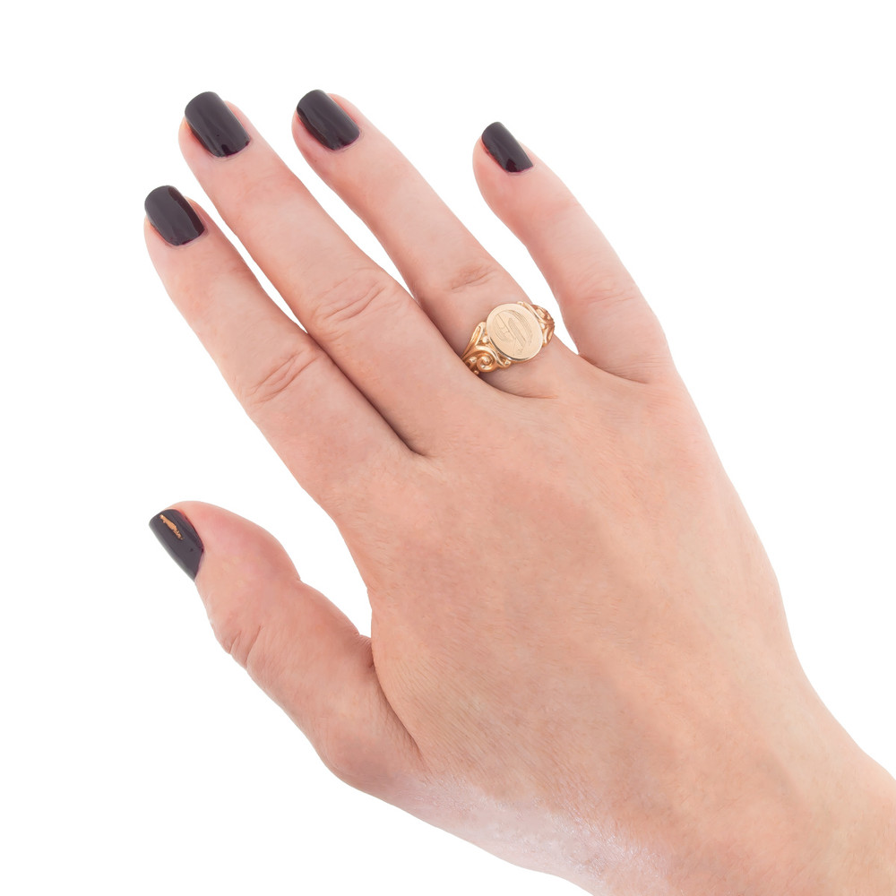 Signet Ring in Gold on Hand